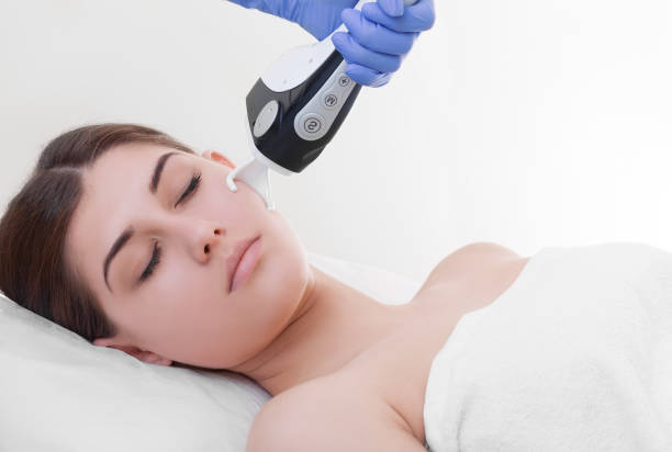 woman undergoing fractional laser skin treatment